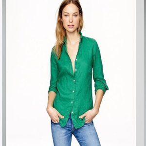 J. Crew Long Sleeve Perfect Shirt Cotton Linen 6